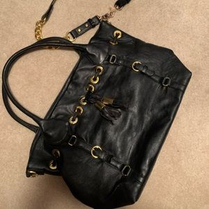 Large bag black with gold accent